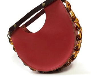 Mallory Top Handle Circle Bag in Saffron Red
