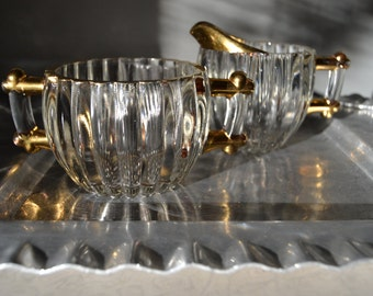 SUGAR CREAMER SET Gilded Gold Edged Heavy Ridged Glass