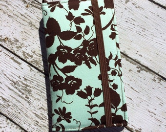 iPhone wallet case with removable gel case - mint and chocolate rose