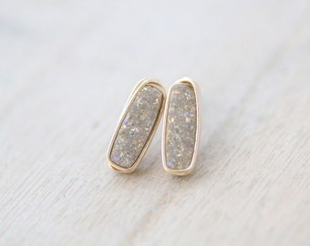 Bar Studs ,  Druzy Earrings , Champagne Linear Rectangle Gemstones in Gold , Rose , Sterling Silver , Modern Fashion - Sandpaper