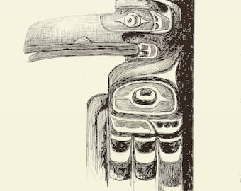 Raven detail from Totem Pole