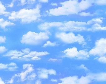 Blue Skies, Billowy Clouds, Landscape Medley, Elizabeth's Studio 505 Light Blue (By YARD)~