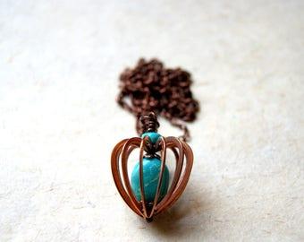 American Turquoise Collier coeur Cage - vintage cuivre ton coeur pendentif avec chaîne en cuivre vieilli
