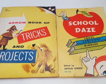2 Vintage Childrens Books Tricks and Projects, School Daze Jokes Cartoons Riddles