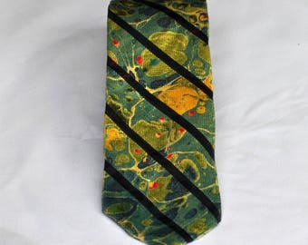 Men's Neck Tie 100% Silk, Upcycled Neck Tie with Earthy Green and Blue Colors MM-#65-17