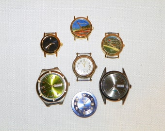 Watch Faces, Pocket Watch, Steampunk Recycling Parts, a DESTASH of Seven Fashion Watch Faces for Recycling and Parts