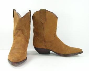 peewee cowboy boots womens 7 M B brown western leather Guess short fashion