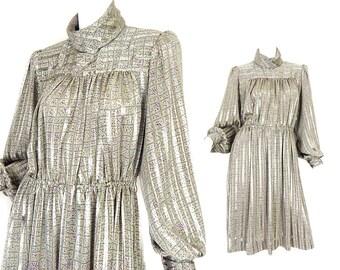 Vintage 1980s Confetti Print Turtleneck Secretary Dress - Silky Taupe Donna Morgan Long Puff Sleeve Women's Dress - Size 7 8 Medium