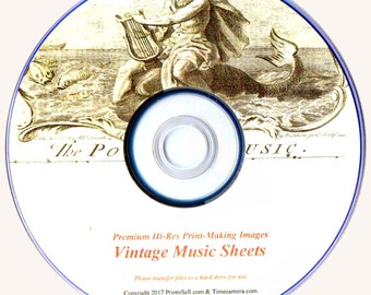 Print Your Own - VINTAGE MUSIC SHEETS- Professional Hi-Res. Restored Images - Disc or Download