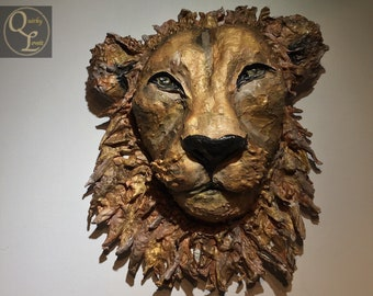 Example Only  - Made to Order  Paper Mache Lion Faux Taxidermy Papier Mache Animal Heads Paper Mache Wall Decor