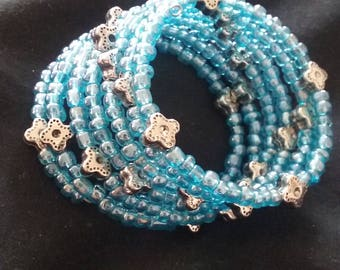 Silver Plated Flower and Opaque Blue Seed Bead Bracelet, Memory Wire Bracelet, Women's Blue Beaded Bracelet, Beaded Bracelet