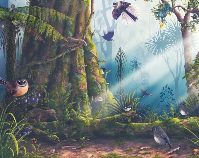 Native Birds of NZ Poster, New Zealand birds, Fantail art, Tui print, Kiwi art, Educational poster, Kiwiana print, New Zealand art, Kaka art