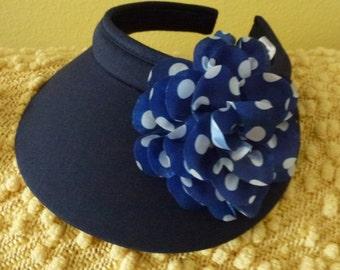 Navy Blue Ladies Sun Visor with large Navy and White Polka Dot Flower