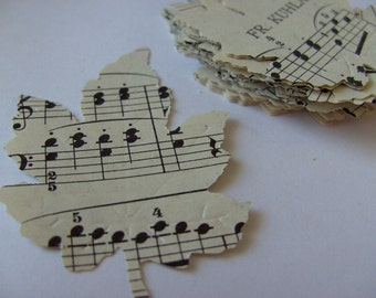 100, Autumn, LARGE, 5cm, leafs, music notes, music sheets,  scrap booking, card making, by DoodleDee2 on etsy