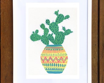 Yellow Potted Prickly Pear Cactus Art Print