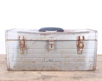 Vintage Silver Craftsman Metal Toolbox / Industrial Box / Metal Storage Box / Antique Metal Tool Box / Rusted Display Prop Unique Storage