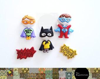 Superhero Magnets [Fridge Magnets, Fridge Magnet Sets, Refrigerator Magnets, Magnet Sets, Office Decor, Kitchen Decor, Magnetic Board]