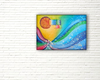 Abstract painting on canvas for living room decor; acrylic, modern, italian and contemporary art; made in Italy.