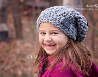 Crochet PATTERN - Crochet Pattern Hat - Crochet Pattern Baby - Slouchy Hat Crochet Pattern - Instant Download Pattern - 4 Sizes - PDF 207