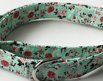 Mint Green Floral Martingale Collar for Spring and Summer