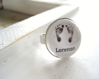 Tiny Footprints Ring, Customizable, miscarriage ring, baby loss, infant loss, child loss gift, memorial gift, remembrance gift, handmade