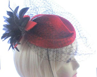 Red and black fascinator hat with widdow netting, Weddings, Rasces Ladies Day