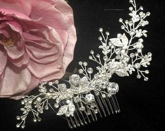 crystal hair comb, bridal pearl hair comb, bridal hair accessory, wedding hair clip, bridal hair comb, crystal comb, crystal hair vine