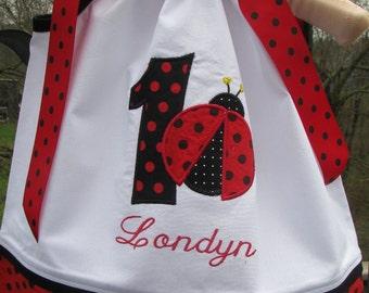 red polka dot ladybug pillowcase dress, 1st birthday dress, ladybug birthday dress,red ladybug birthday dress, 2nd birthday
