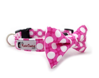 Patterned Pink & White Polka Dot Dog Collar (Dog Collar Only - Matching Bow Tie Available Separately)