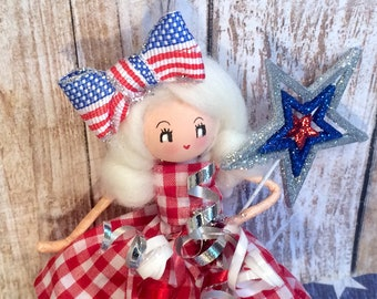 Americana vintage atomic retro inspired july 4th ornament USA blonde doll Stars and Stripes 4th if july decor red white and blue