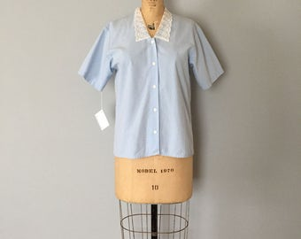 baby blue shirt | lace collar button down top