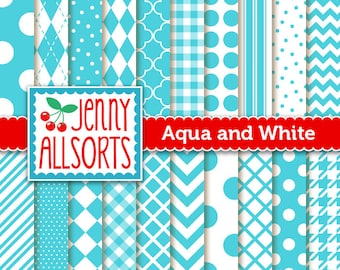 Aqua Digital Scrapbook Papers - 20 Graphic Pattern Sheets - Instant Download