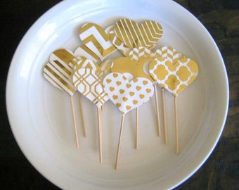 Cupcake Toppers, Heart Toppers, Wedding Toppers, Baby Shower Toppers, Gold Cupcake Toppers, Tea Party Toppers, Gold Hearts, Wedding Decor
