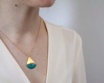 Sailing Boat Necklace ... Turquoise Geometric Enamel Nautical Pendant