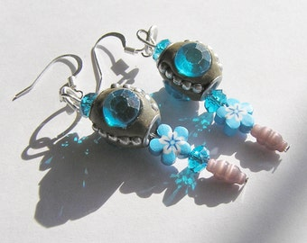 Unique Kashmiri Bead Dangle Earrings with Polymer Clay Flowers, Blue Crystals, and Light Pink Glass Beads