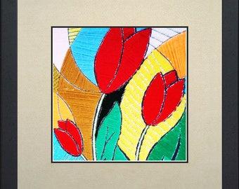 Silk painting of tulips