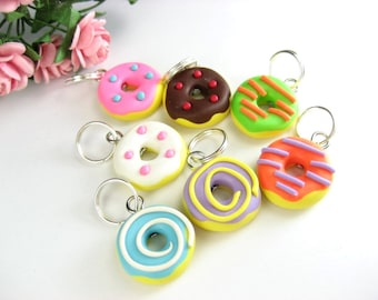Fun Donut Stitch Markers (set of 7), doughnut, donut charms, knitting accessories, knitting, knit, food gifts, gift for knitters, cute clay
