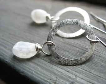 Moonstone earrings, Rainbow Moonstone Silver Hoop Earrings, Handmade Stone Earrings, Metalwork Earrings
