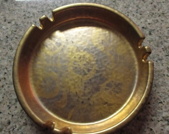 Vintage Sascha B. Brastoff Ceramic Pottery Ashtray - Gold With Circular Patterns - 056A