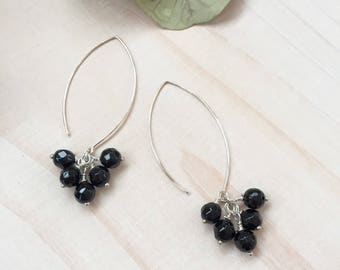 Faceted Black Onyx and Sterling Silver Cluster Earrings