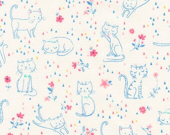 Whiskers and Tails in Pastel - Robert Kaufman - Sea Urchin - AUI-16733-198 - Cat Fabric - Kitten Fabric
