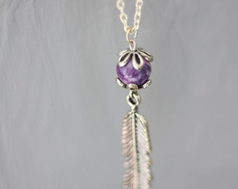 Aquene - long feather gemstone Sugilite purple