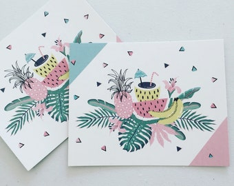 Tropical Summer Mini Card, Thank You Card, Party Supplies, Tropical Label Tags, Packaging Supplies, Gift Wrapping,