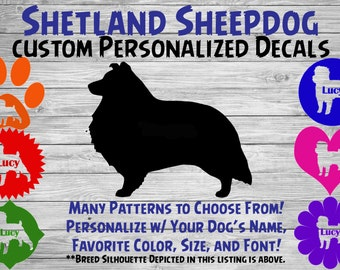 Shetland Sheepdog Sheltie Personalized Dog Silhouette Vinyl Decal - Dog Sticker - Window Decal - Car Sticker – Name Tumbler – Custom Decal