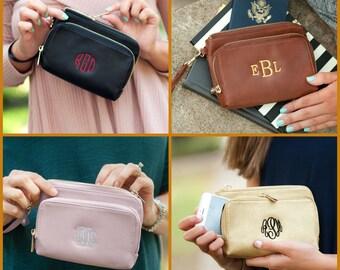 Leather Wristlet, Monogram Wristlet, Monogram Leather Wristlet, Monogram Wallet, Monogrammed Clutch, Bridesmaid Gift, Vegan Leather Wristlet