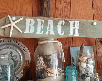 Driftwood Beach Sign with Starfish