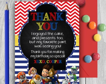 Paw Patrol Thank You Card; Printable Thank You Card; Paw Patrol Birthday Party; Custom Invitations; Birthday Invitation; Digital File; DIY