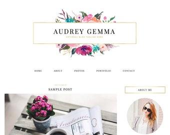 "Blogger Template, Blog Template, Blog Design - ""Audrey | by Anna"" Instant Digital Download"
