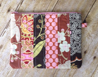 Large Patchwork Zipper Pouch - Brown and Pink Lacework Amy Butler Fabrics - Zippered Clutch - Large Wristlet - Quilted Zipper Pouch
