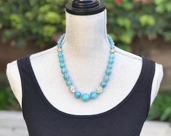 Blue necklace, gemstone necklace, turquoise necklace, short necklace, handmade necklace, women necklace, beaded necklace